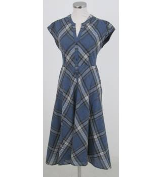 Monsoon: Size 8: Monsoon: Blue, black and white check fit and flare dress