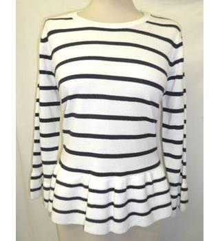 NWOT  Per Una size: 14  white with blue stripes jumper peplum