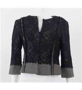 Phase Eight Size 12 Black Lace and Tweed Jacket