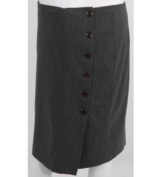 JIGSAW Grey Wool Pin Stripe Knee-Length Skirt Size 8