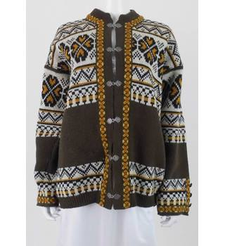 Gann Sporty Norwegian Size: XL Khaki Wool Cardigan