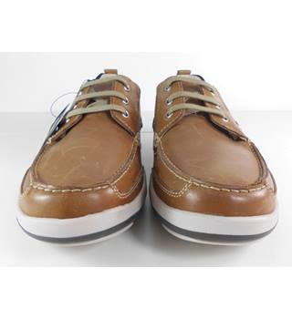 M&S Size: 10 Tan Leather Lace-up Boat Shoes