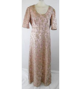 "1950/60 s  Unbranded  41"" bust  dusky pink & metallic gold brocade long dress"