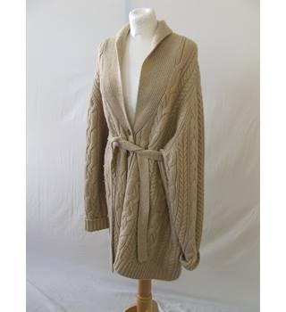 WOMENS LAND'S END CABLE KNIT LONG CARDIGAN LAND'S END - Size: XL - Beige - Cardigan