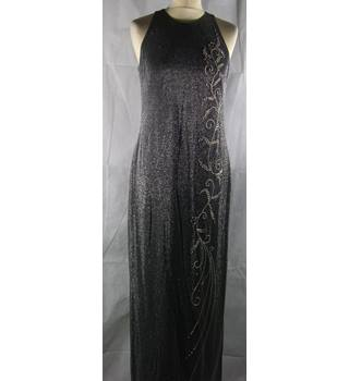 Emma Somerset - Size: 10 - Black - Evening dress | Bead detail + Silver sparkles