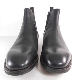 M&S Luxury Collection Black Leather Chelsea Boots Size: 14