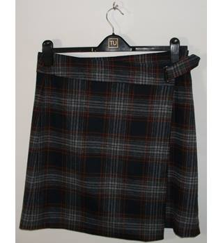 Marks & Spencer Collection Grey/Green/Navy/Red Wool Check Wrap Around Mini Skirt UK Size 14