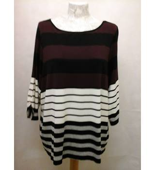 NWOT M&S, size 24 black, burgundy & white mix striped top