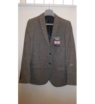 Size 40 Grey and White Patterned Slim Fit Men's Suit Jacket Tu - Size: L - Grey - Jacket
