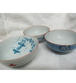 Three Delicate Blue Cream Chinese Bowls