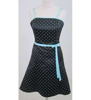 Jessica McClintock: Size 8: Black with turquoise polka dot swing dress