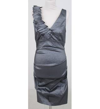 Betsy & Adam: Size 10:  Grey body-con dress with neck ruffle