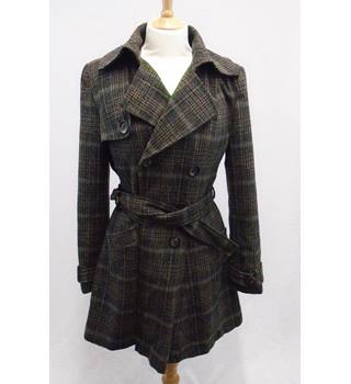 Next - Size 12 - Brown Check - Wool Blend Trench Coat