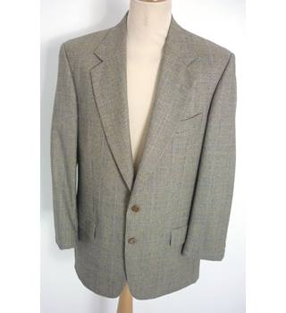 "Valentino Uomo Size: L, 42"" chest, tailored fit Brown Prince of Wales Check Stylish Wool Designer Single Breasted Jacket"