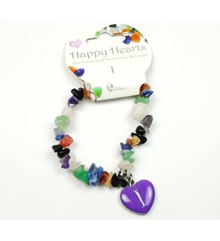 Happy Hearts personalised 'I' gemstone stretchy bracelet