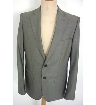 "Zara Man Size: S, 36"" chest, tailored fit Battleship Grey Smart/Stylish Pure New Wool Designer Single Breasted Jacket"