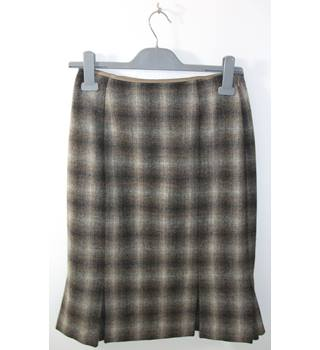 HOBBs Grey Wool Check Knee-Length Skirt Size 10