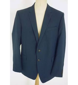 "M & S Size: Jacket, XL, 46"" chest, slim fit & Trousers, 42"" W, 33"" L  Blue Smart Wool Blend ""Performance"" Single Breasted Suit"