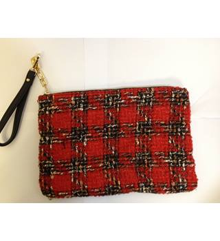 Red Tartan Sequins & Woven Handbag