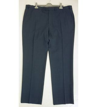 "M & S Size: XL, 42"" waist, 31"" inside leg, tailored fit Navy Blue  Smart/Stylish Wool Blend Flat Front Trousers"