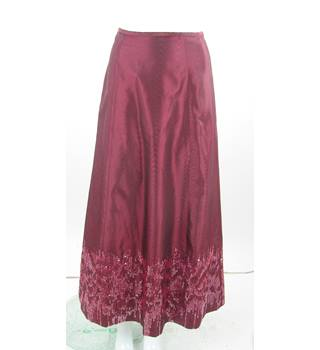 VINTAGE - Laura Ashley - Size: 8 - Burgundy- Long Sequined Skirt