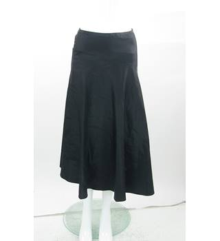 Laura Ashley - Size: 8 - Black Silk Mix - Calf Length Skirt