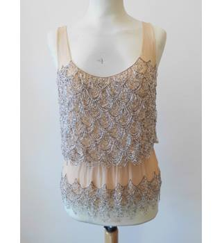 Kate Moss forTopshop Size: 6 Biscuit Beaded Evening Top