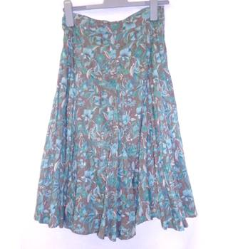 Adini - Size: XS - Cedar Brown with  Turquoise & Teal Floral Long Skirt