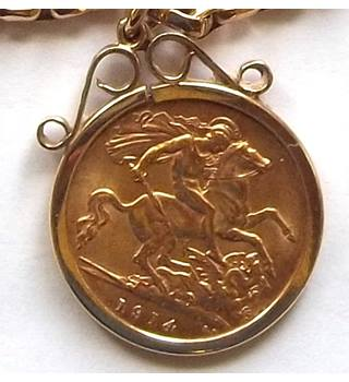 Half Gold Sovereign Pendant with Belcher Chain, Coin 1914 *Price Reduced*
