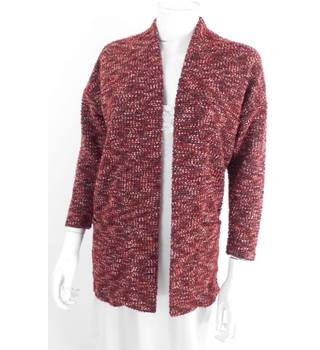 Miss Selfridge Size L Red Oversized Mottled Cardigan