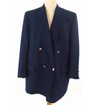 Burberry Size L Navy Double Breasted Wool Blazer.