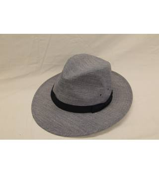 New  M&S -Denim Blue Fedora with navy blue band detail - Size: Large