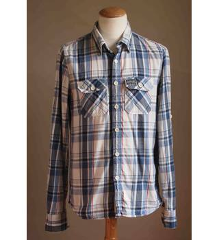 Superdry, size L white & blue checked shirt