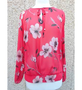 red flowered patterned blouse Next - Size: 10 - Red - Blouse