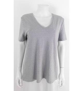 Reiss Size L  Metallic Silver Short Sleeve Polyester and Viscose Jumper