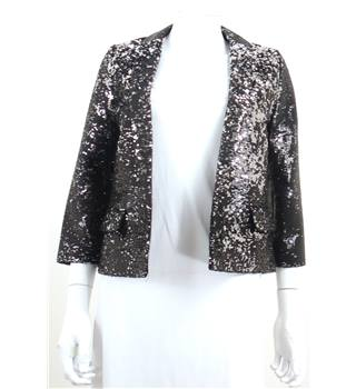 BNWT Next Petite Size 8 Black and Silver Sequin Blazer