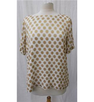 White Stuff, size 16 cream with gold spots short sleeved top