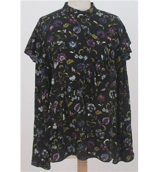 NWOT M&S Limited Edition size: 8 black mix floral frilled long sleeved top