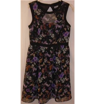 M&S Limited Edition Size: 12 Black/Puirple Mix Floral/Animal Print Sleeveless Dress