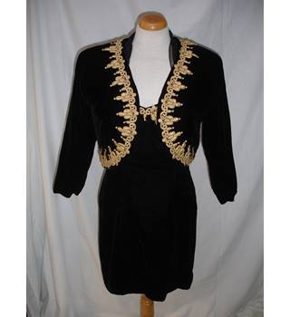 Unbranded size Black velvet Mini Dress with Matching Jacket and Sleeves - Size 10