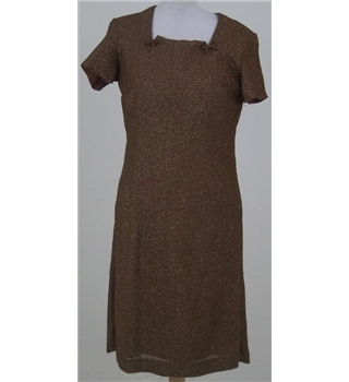 Vintage 1960's, Philip Kunick, size M bronze cocktail dress
