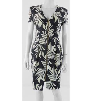 Whistles Size 8 Black And Cream Print Wool Dress