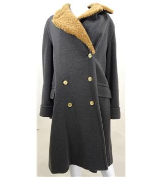 Nicole Farhi Size 12 grey wool and sheepskin coat