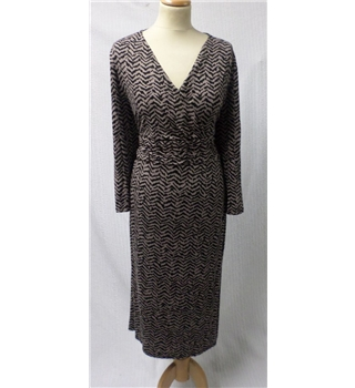 Viyella Size 14 Black/Taupe Fitted Jersey Dress