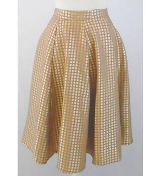 "1950 s home made 30"" W  rockabilly skirt - pale gold/beige check - satin brocade"
