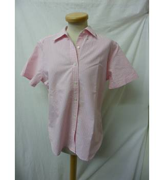 Lands' End Size: 12 White Pink Striped Ladies' Short  sleeved shirt