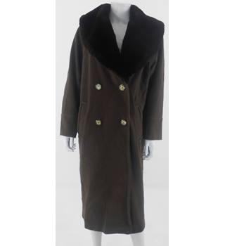 Harrods Size 12 Walnut Brown Wool and Cashmere Blend Coat