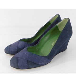 NEW L. K. Bennett Blue 'Shaila' Suede Wedges Size 3/1/2