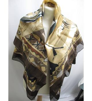 Ladies Large Scarf in Gold, Brown, Gray and Black -  Unbranded - Size: One size - Multi-coloured