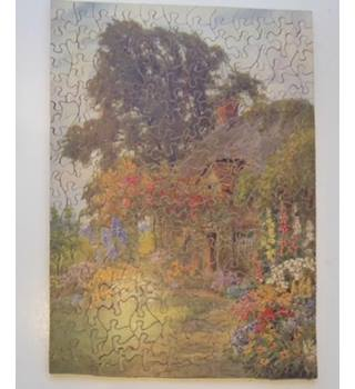Vintage wooden jigsaw J. Salmon - a thatched cottage and garden